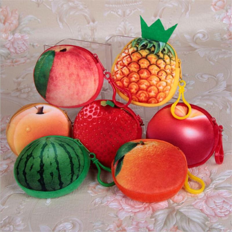 Lkeep мини 3D фрукты мешок монетки дамы дети милый маленький кошелек яблоко арбуз портмоне земляника Для женщин Мужская цепочка для ключей меш...