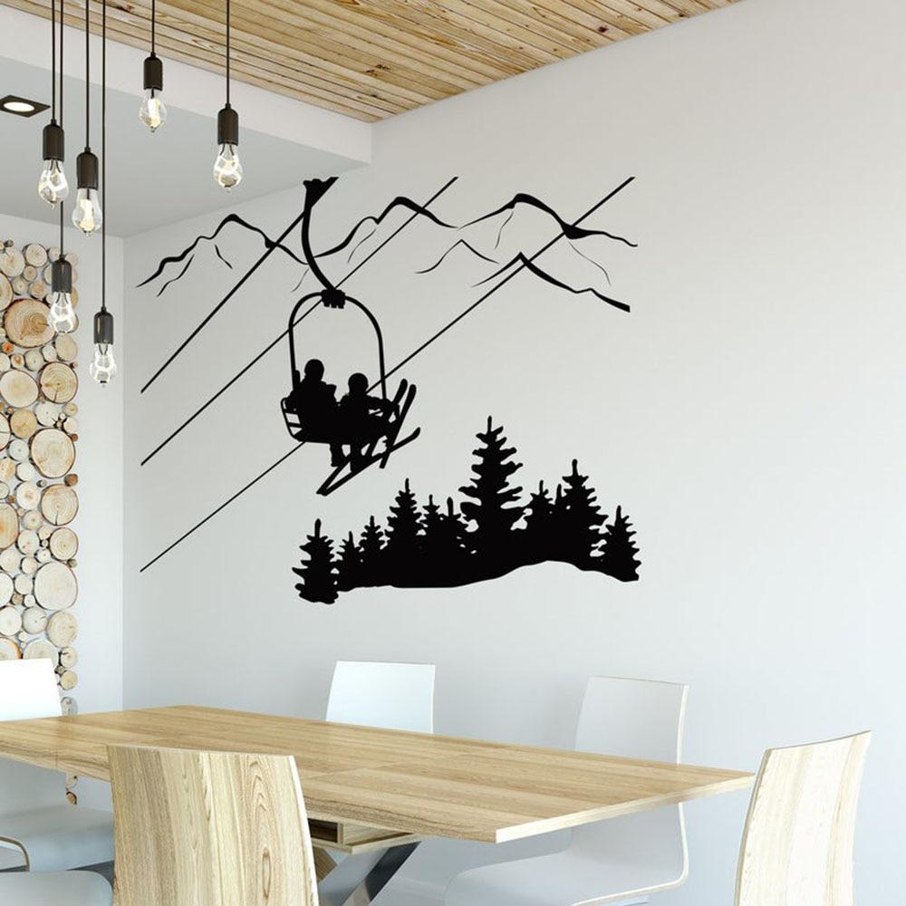 Skier Ski Jumper Vinyl Wall Decal for Home Decor 26x22