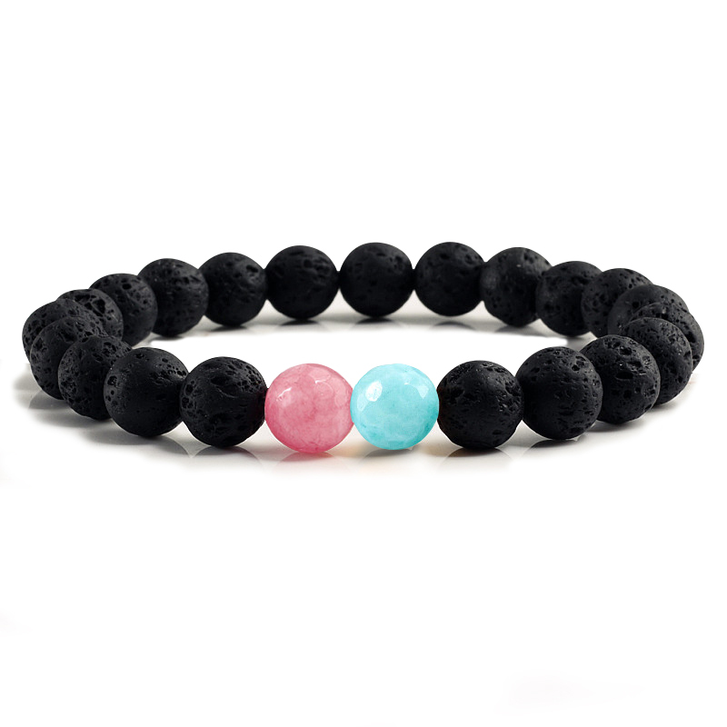 Charm Women Natural Volcanic Stone Bracelet Classic 8mm Black Lava White Turquoises Beads Strand Bracelets Bangles Men Jewelry
