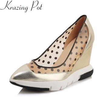 Krazing Pot 2019 new superstar office lady slip on wedge super high Air mesh women pumps shallow nightclub dot spring shoes L72