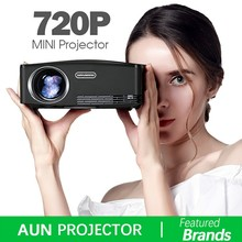 цена на AUN C80 HD MINI Projector, 1280x720P, Video Beamer,3D Projector. Support 1080P,HD-IN,USB, (Optional C80 UP Android version WiFi)