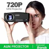 AUN C80 HD MINI Projektor, 1280x720 P, Video Beamer, 3D Projektor. Unterstützung 1080 P, HD-IN, USB, (Optional C80 UP Android version WiFi)