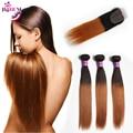 Дешево Бразильские Волосы 3 Пучки С Закрытием Прямые Светлые Человеческих Волос Weave С Закрытием 100% Необработанной Виргинский Бразильский Волос