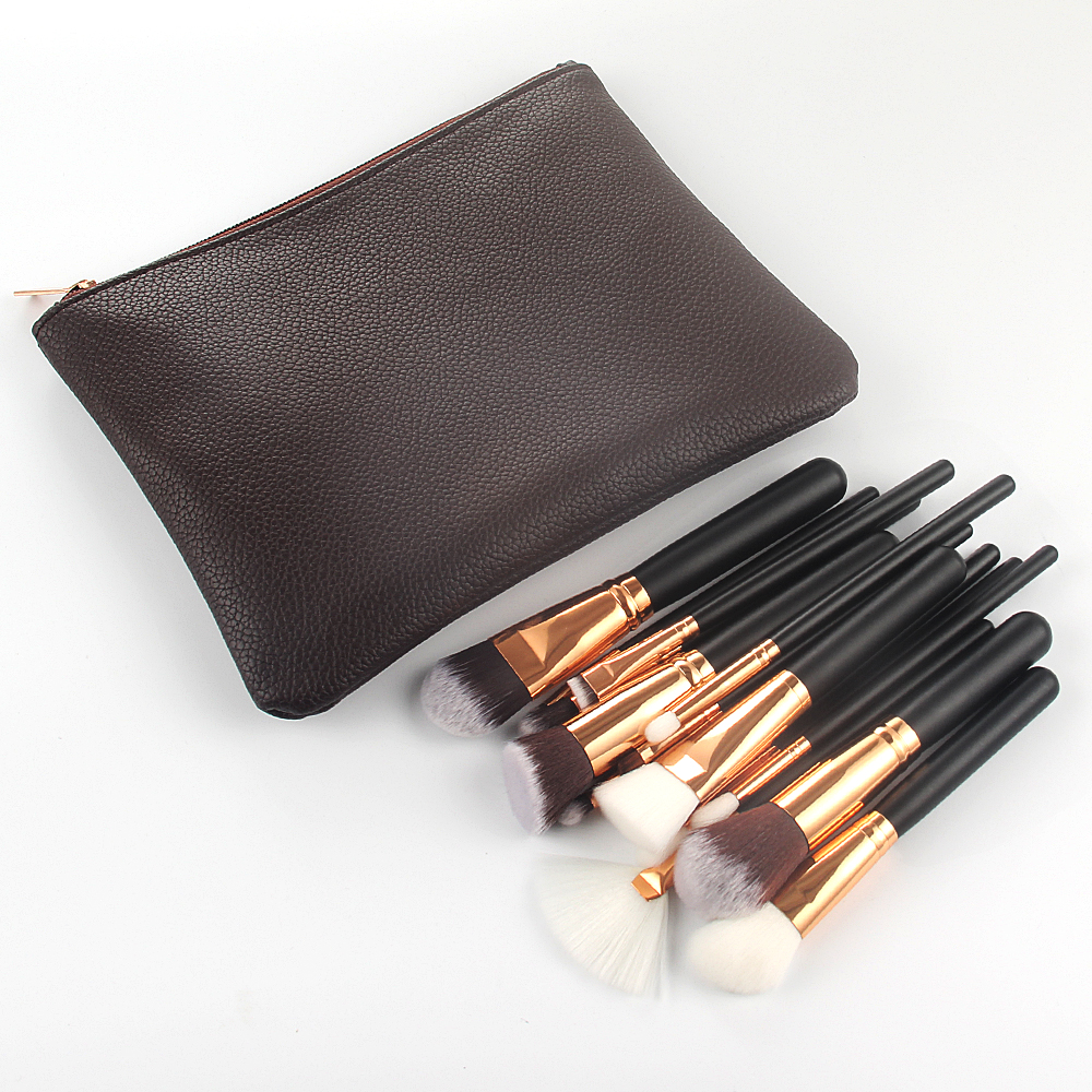 10/15pcs Makeup Brushes Set Pincel Maquiagem Powder Eye Kabuki Brush Complete Kit Cosmetics Beauty Tools with Leather Case 4