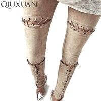 QIUXUAN 2017 Sexy Wysoka Talia Krzyż Zasznurować buty damskie Jednolity Kolor Pant Lato Style Skinny Ołówek Legginsy Spodnie dla kobiety