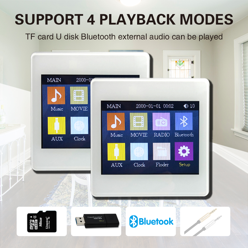 2019 Hot Sale M86E 3.5 Inch Mini Touch Pad Background Music Wall Mount Amplifier Smart Home Audio System Touch Screen Amplifier