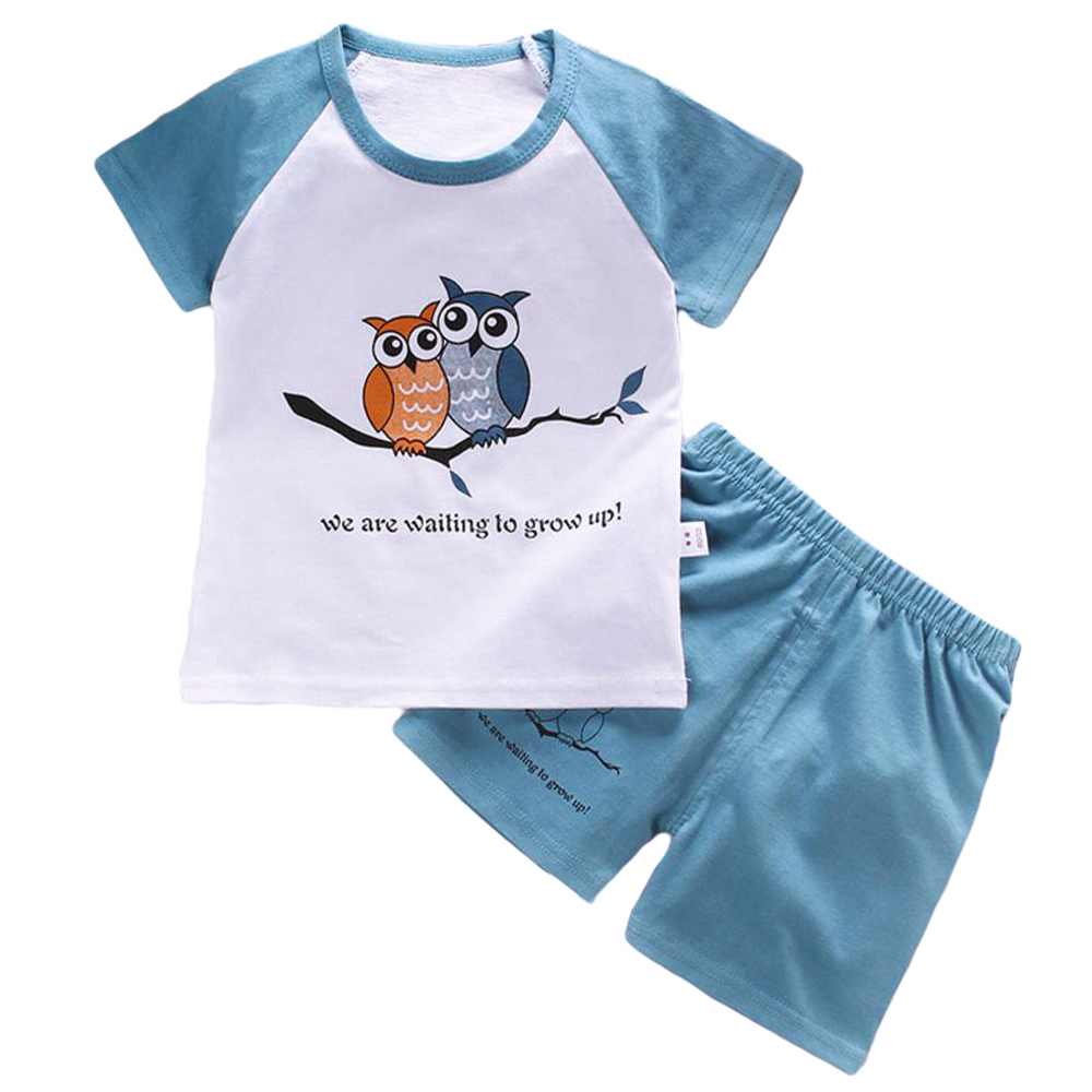 Fabal Toddler Kid Baby Girl Outfits Cartoon Print Vest T-Shirt Tops+Shorts Clothes Set