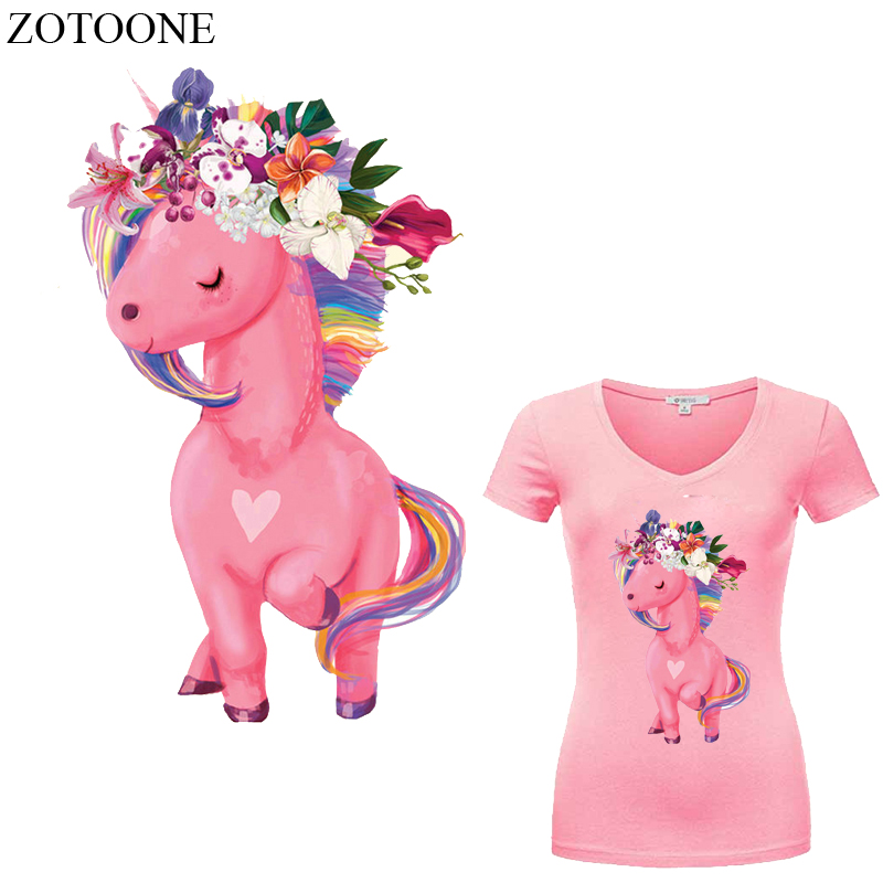 ZOTOONE Unicorn Patch Iron on Flower Patches Diy Child T shirt Dresses Sweater Thermal Transfer Patch for Clothing Heat Press E in Patches from Home Garden
