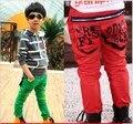 Em venda 2016 outono verão crianças meninos calças cor sólida com zíper patchwork qualidade B010