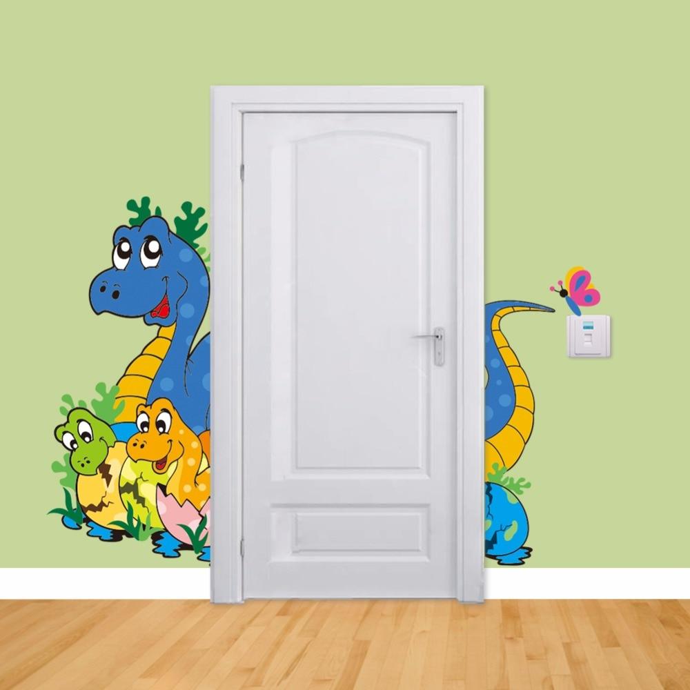 Cartoon Dinosaur World Door Boys Vinyl Wall Sticker for Kids Rooms Home Decoration Wall Decals Wallpaper mural Mural DIY Poster