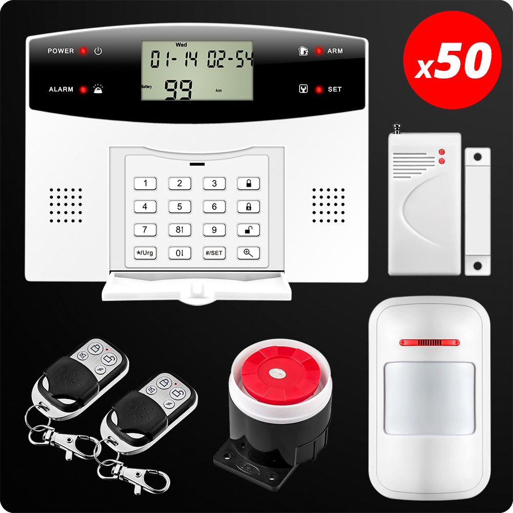 50 pcs sans fil filaire GSM PSTN système d'alarme à la maison 99 Zones maison sécurité voix cambrioleur alarme mouvement porte capteur filaire sirène