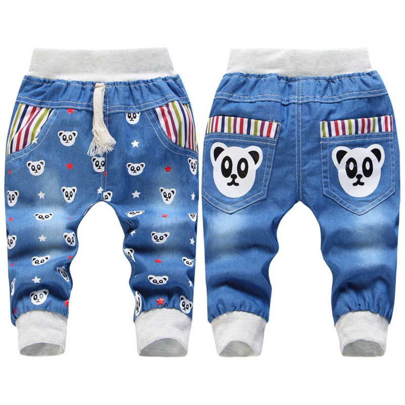 2017 Hot Sale Boy Girl Summer Denim Jeans Children Comfortable Pants Baby Elastic Waist Jeans Pants Cartoon Printing CY142 (8)
