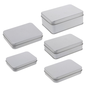 OOTDTY Small  Metal Storage Box Tin Silver Case Organizer For Money Coin Candy Key