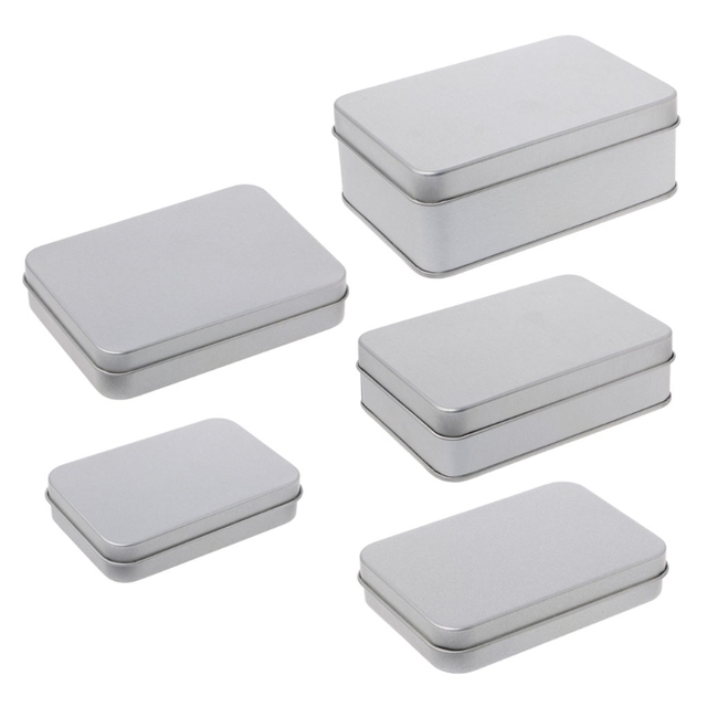 Charming OOTDTY Small Metal Storage Box Tin Silver Storage Box Case Organizer For  Money Coin Candy Key