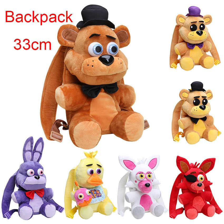33CM fnaf plush Five Nights At Freddy's backpack Freddy Fazbear Foxy bonnie chica plush bag toys Insulation Bags