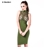 High Quality Women Winter Bodycon Party Dress Olive Mesh Black Gray Red Knee Length Celebrity