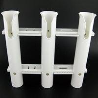Marine Plastic Rod Holder 3 Tube PP Fishing 3 Link Boat Rod Holder Socket White