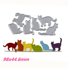 98x44.6mm A Group of Cats Photo Metal Stencil for DIY Scrapbooking Album Paper Card Decorative Craft Cutting Dies 2019 New