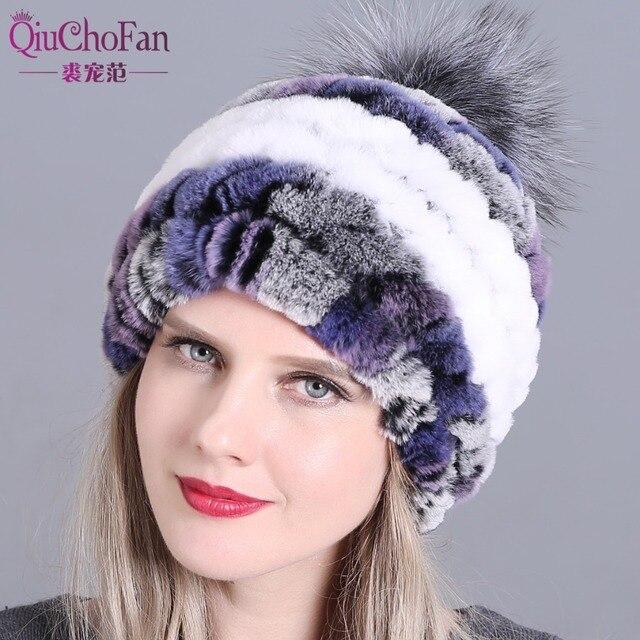 冬の毛皮の帽子でリアルレックスウサギの毛皮の帽子キツネの毛皮のポンポン毛皮ニットビーニー 2018 新ファッション良質キャップ