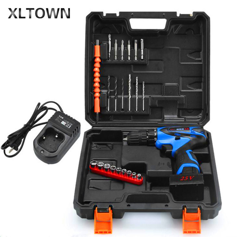 Xltown 25V plastic box Multi-function Rechargeable Lithium Battery Electric Drill Bit Home Cordless Electric Screwdriver 60 40 66cm modern wood bedside table sofa side coffee table rectangle mobile corner table removable tea cart with wheels