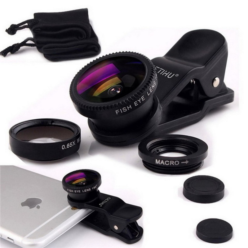 3 in 1 Fisheye Lens Microscope Mobile Phone Clip Lenses Fish Eye Wide Angle Macro Camera Lens For iPhone 7 6 6s 5 Camera Lentes