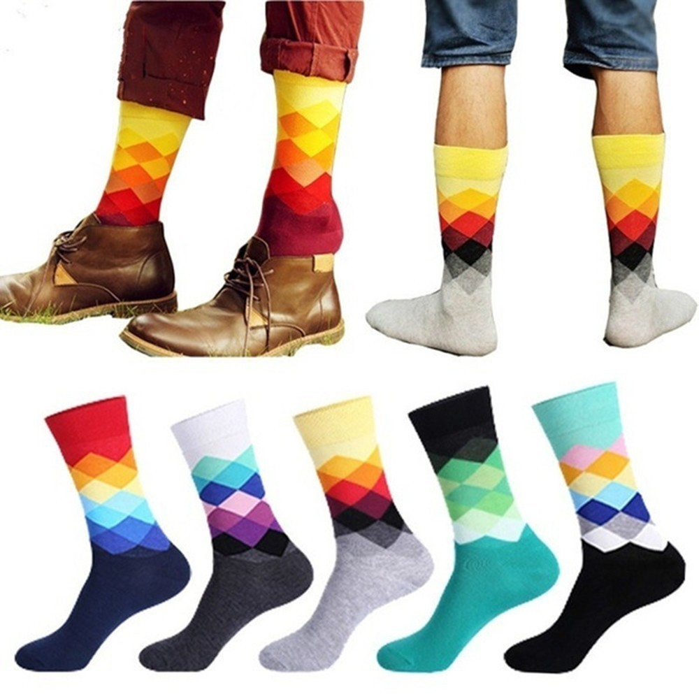 PEONFLY Casual Colorful Happy Socks Men Funny Cotton Socks Warm British Style Plaid Calcetines Divertidos Hot