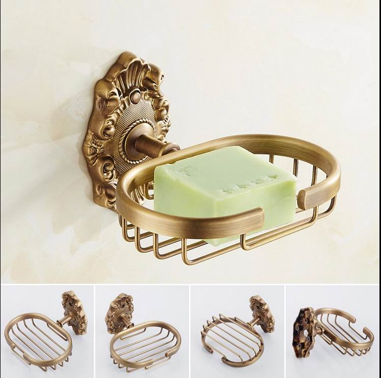 Free shipping wall mounted golden brass soap dishes - Wall mounted ceramic bathroom accessories ...