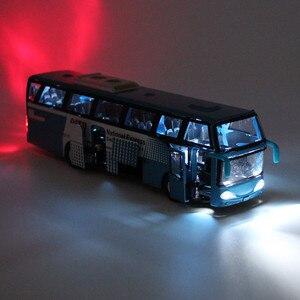 Image 2 - 1:32 Модели автомобилей из сплава, высокий симулятор городского автобуса, металлические Литые, игрушечные транспортные средства, тяговый, мигающий и музыкальный, бесплатная доставка