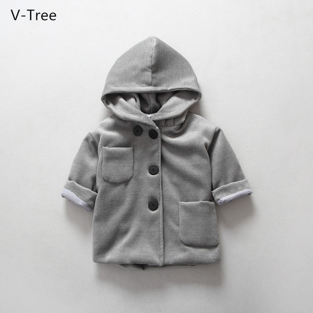 2016 Winter Girls Outerwear Woolen Overcoats Baby Kids Solid Thick Velet Warm Coat Infant Children Hooded Single-breasted Cloth