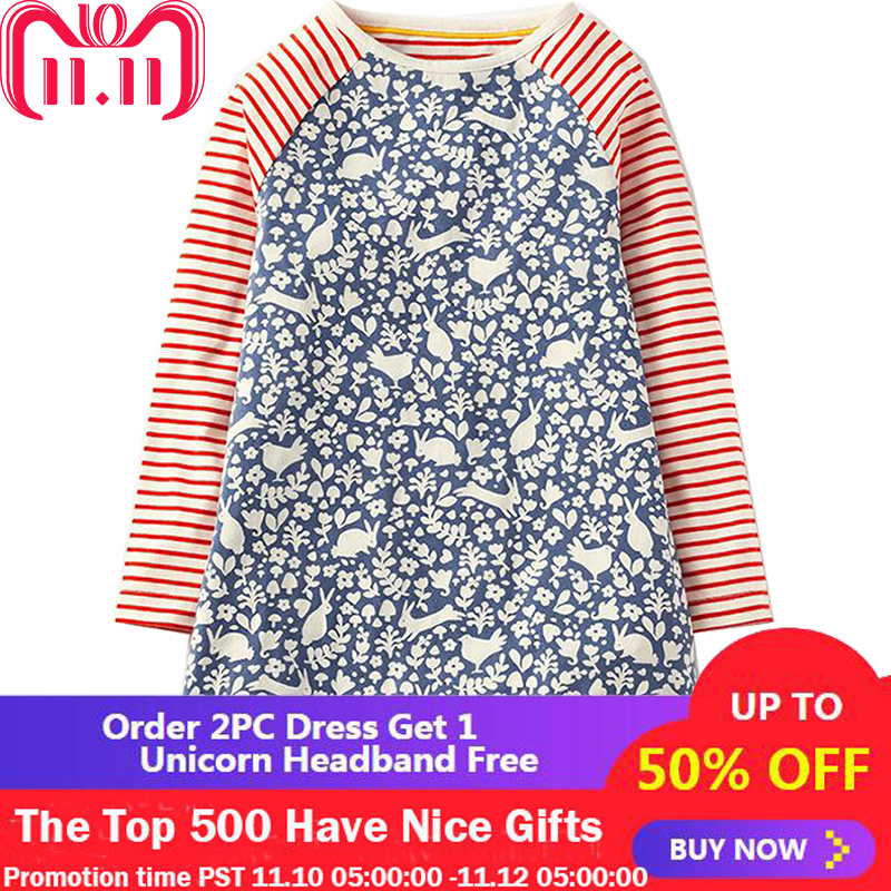 Baby Girls Dresses Long Sleeve 2018 Brand Autumn Children Christmas Dress Kids Clothes Printed Jersey Princess Dress Vestidos w l monsoon baby girl dress long sleeve vestidos 2017 brand christmas dress with embroidery cotton autumn dresses kids clothes