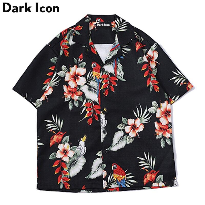DARK ICON Floral Printed Short Sleeved Shirts Men 2019 Summer Hip Hop Casual Mens