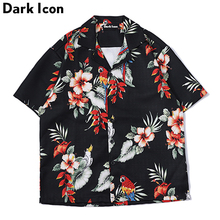 DARK ICON Floral Printed Short Sleeved Shirts Men 2019 Summer Hip Hop Casual Mens