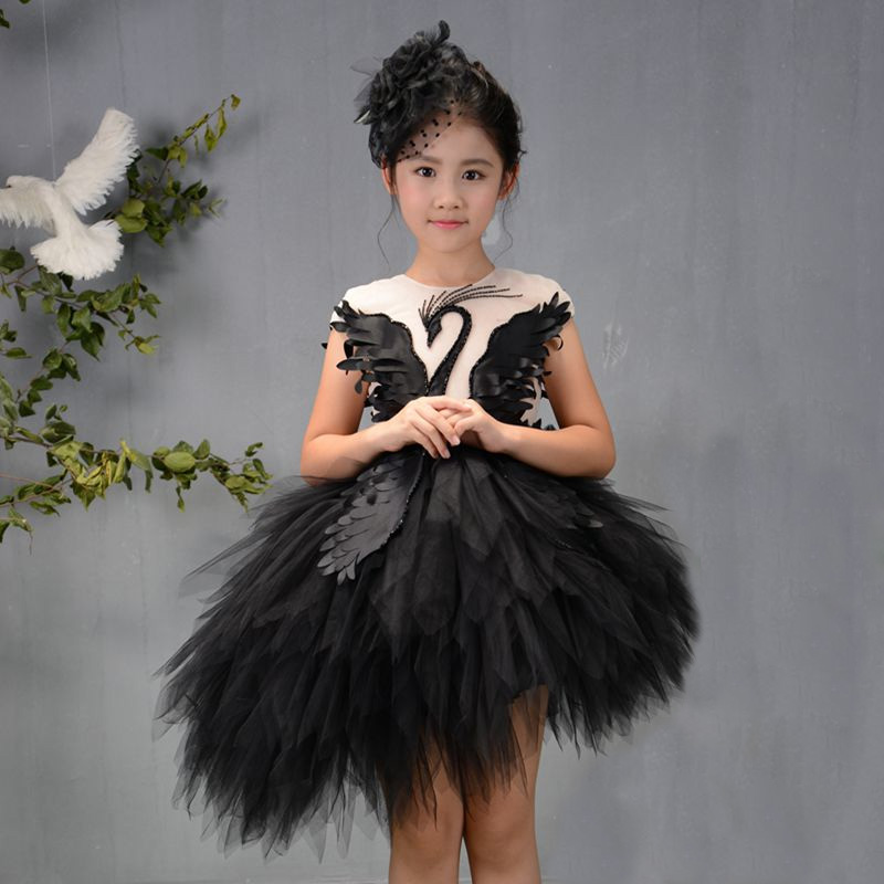Black Luxury Flower Girl Dresses Swan Feather Kids Pageant Dress Birthday Show Costume Ball Gown Girls