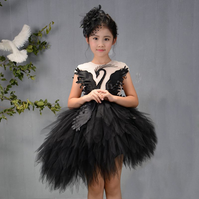 6e5b46e07be Black Luxury Flower Girl Dresses Swan Feather Kids Pageant Dress Birthday  Show Costume Ball Gown Girls Formal Dress Evening B75