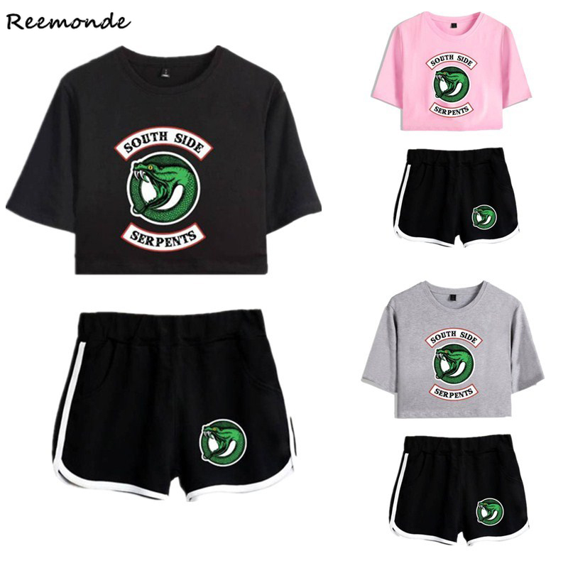 Riverdale southside camisa shorts ternos spor south side riverdale conjuntos de roupas femininas meninas correndo camisa