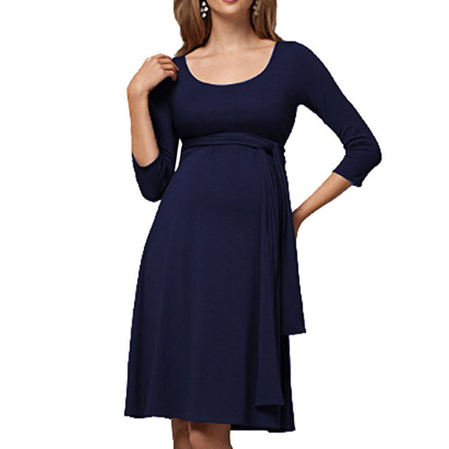 Dollplus Moms Pregnancy Maternity Clothes Maternity Tops Women's Pregnancy Long Sleeve Dress Maternity Solid Color Shirt