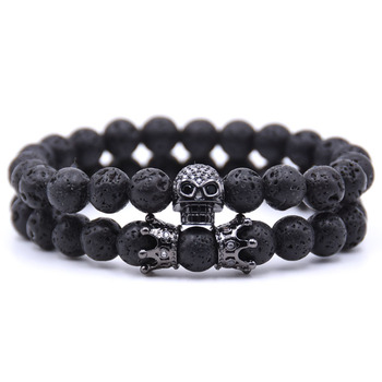 KANGKANG 2PCS/set 8mm Classic Volcanic stone Pave CZ Skull Charm Bracelet For Men&Women Bracelets  Jewelry  Pulseras moda 2018