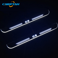 CARPTAH Trim Pedal Car Exterior Parts LED Door Sill Scuff Plate Pathway Dynamic Streamer light For Citroen C5 2008 2014 2015
