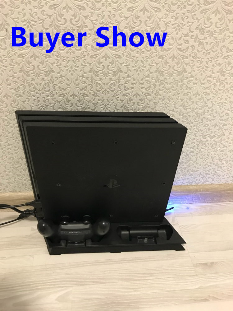 Купить с кэшбэком PS4 PRO Heat Sink Base Cooling Fan Vertical Charger Stand Dual Controller Charging Dock for Playstation 4 PS 4 Pro Accessories