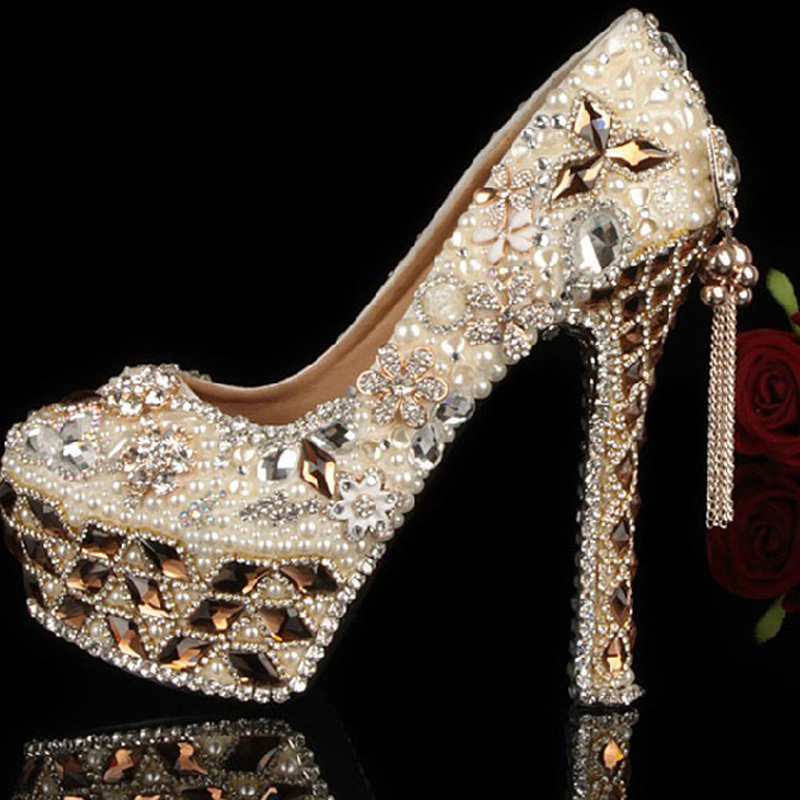 Gorgeous Shoes Luxury Elegant Rhinestone Crystal Wedding Bridal Dress Shoes Jeweled High Heels Evening Prom Party Shoes