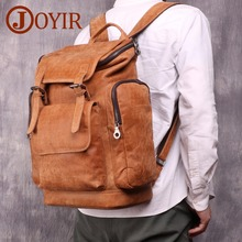 JOYIR Genuine Leather Backpack Men 15.6 Laptop Daypacks Large Capacity Travel Vintage School Bag Male Rucksack