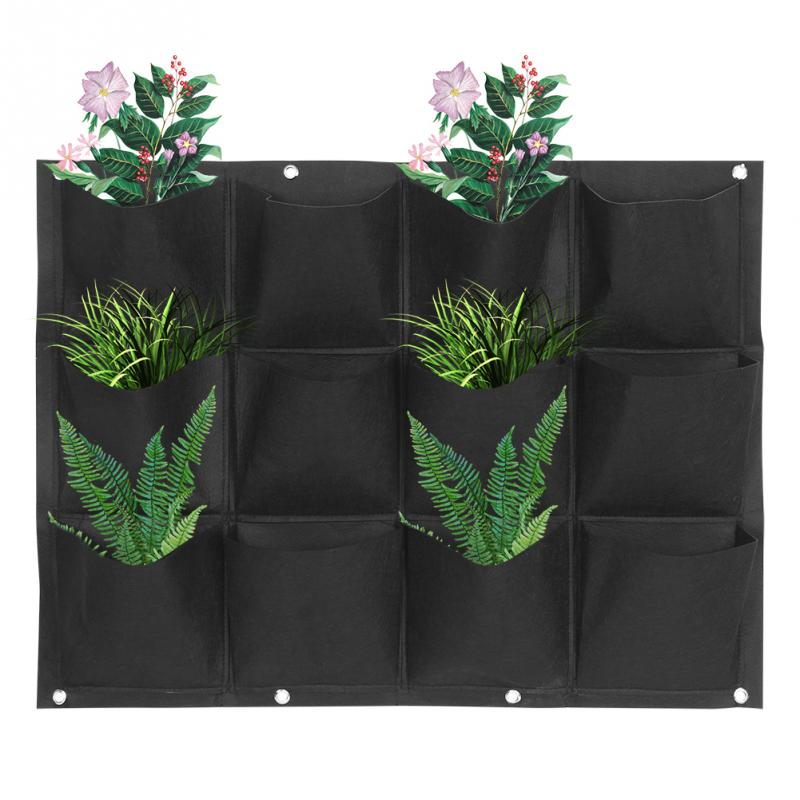 Garden Plant Wall Hanging Garden Vertical Gardening 6/9/12/18 Pockets Felt Fabric Black Grow Bags