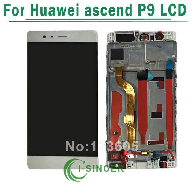 Para huawei ascend p9 lcd display + touch screen digitador assembléia de vidro com moldura frete grátis
