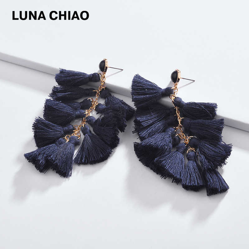 LUNA CHIAO Fashion Jewelry Stacked Multiple Mini Tassels Drop Earrings for Women