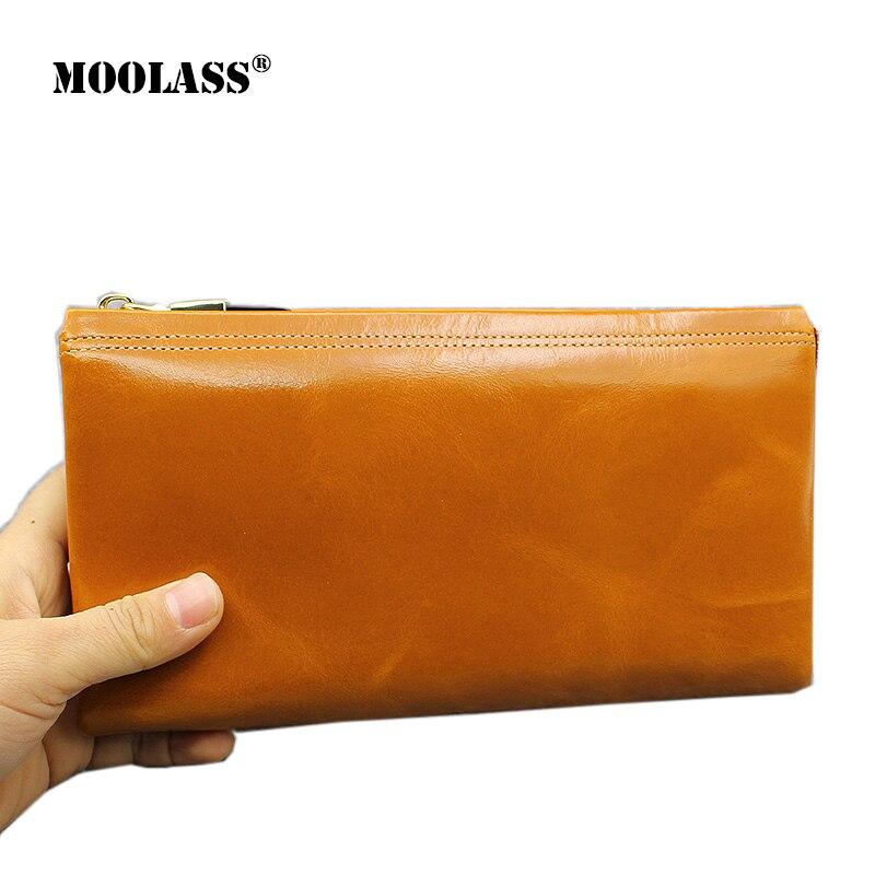 ФОТО 2017 New Design Fashion Multifunctional Purse Genuine Leather Wallet Women Long Style Clutch Oil Wax Cowhide Wallets