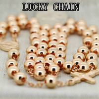 Hot Sale New Men S Stainless Steel Rose Gold Plated Rosary Chain Necklace Women S Coat