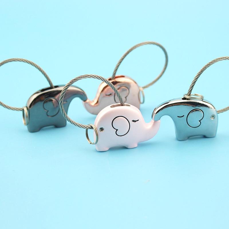 Elefánt pár kulcstartó aranyos kulcstartó női drótkötél kulcstartó fesztivál kreatív lány ajándék fém kulcstartó O-467