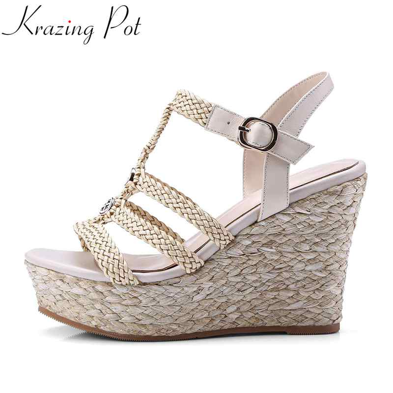Krazing Pot leather Straw braid ethnic Bohemia style buckle strap super high bottom rivet peep toe party woman cozy sandals L37