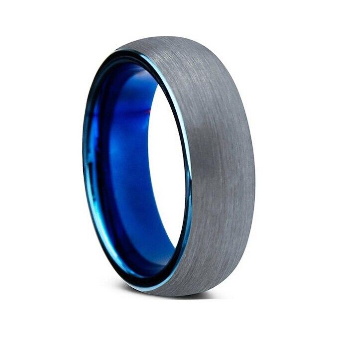 Prix pour Nouveautés dôme bande tungsten anneau avec brossé et bleu plaqué