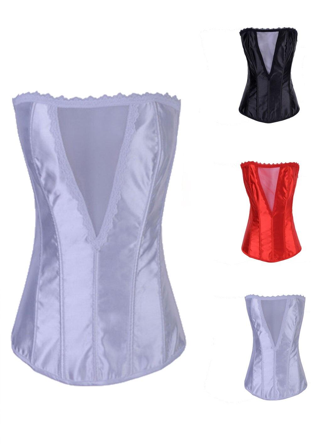 Corzzet Balck /Red/White Satin Lingerie   Corset   Double Boned Waist slimming Overbust Burlesque Wedding   Corset   Gothic Clothing